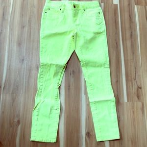 LOFT electric yellow stretch jeans 4